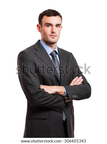 Portrait of a young handsome businessman. Isolated on white
