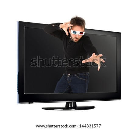 Portrait Of A Young Man Wearing 3d Glasses out of the tv