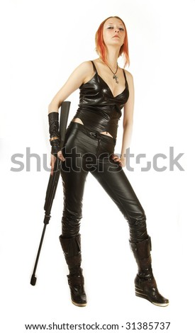 portrait of a young sexual girl with a rifle isolated white background
