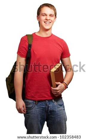 portrait of a young student holding a book and carrying a backpack over a white background
