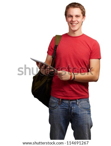Portrait Of A Young Student On White Background