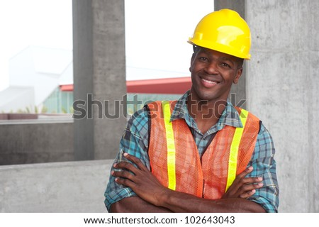portrait of an African American construction worker on location