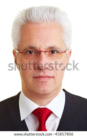 Portrait of an elderly business man with grey hair