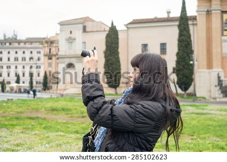 portrait of an ukrainian girl visiting San Giovanni in Laterano in Rome