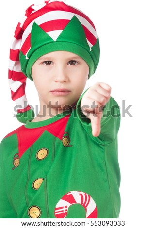 Portrait of an upset little elf on isolated white
