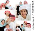 Portrait of Arabic family with new baby at home - stock photo