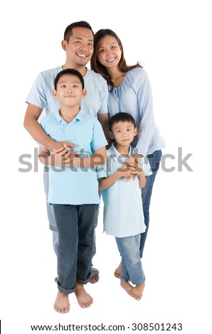 portrait of asian family isolated on white