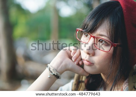 Portrait of Asian girl in construction site