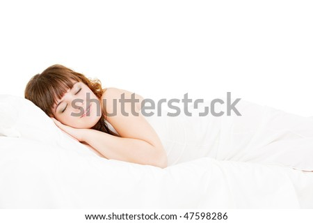 portrait of asleep lovely woman. isolated on white