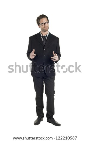 Portrait of attractive businessman gesturing a pose against white background