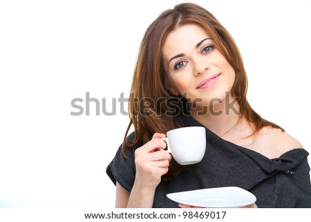 Portrait of attractive young woman with coffee cup isolated on white background