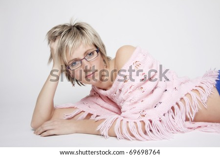 Portrait of attractive young woman with glasses