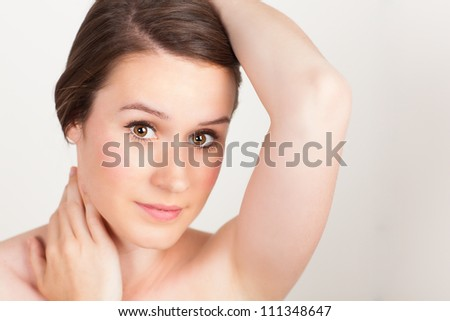 Portrait of beautiful and elegant young Caucasian female