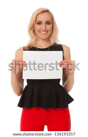 Portrait of beautiful caucasian woman with table isolated over white background