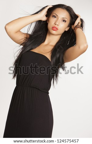 Portrait of beautiful  girl in black dress