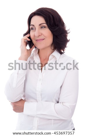 portrait of beautiful mature woman talking on phone isolated on white background