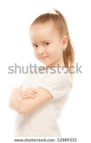 Portrait of beautiful preschool child, isolated on white background.