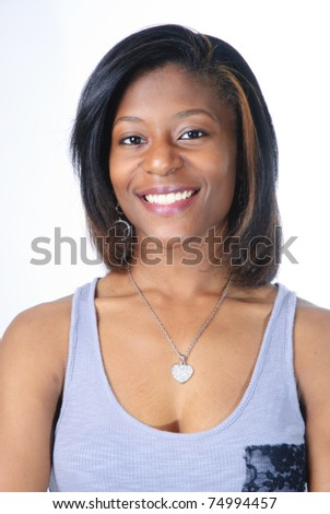 portrait of beautiful young african-american woman on white