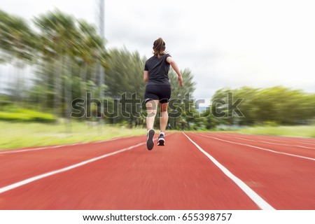 Athletic Woman Running On Track Stock Photo 35915845 ...