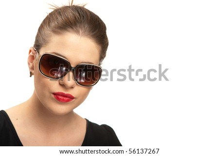 Portrait of beautiful young woman with red lips isolated over white. Big toothy smile.