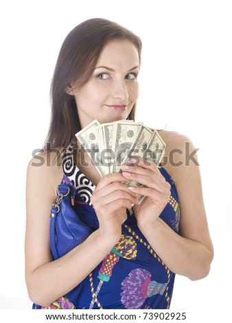 portrait of beauty young woman with money isolated on white background