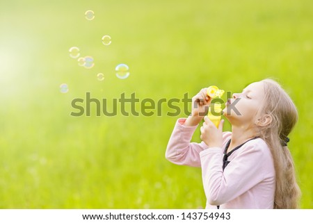 Portrait Funny Lovely Little Girl Blowing Stock Photo ...