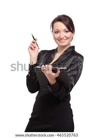 Portrait of cute young brunette business woman holding a folder.