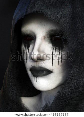 Portrait of demon dressed in a black hood, 3D rendering. Black background.