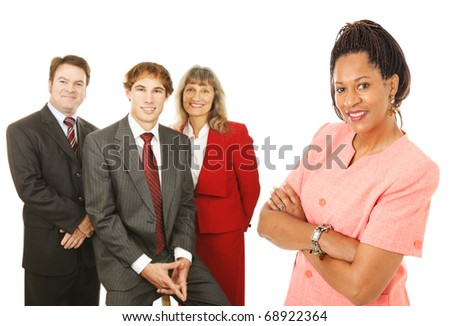 Portrait of friendly, competent business people.  Isolated on white.