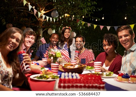 Portrait Of Friends At 4th July Holiday Backyard Party