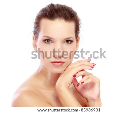 Portrait of girl with  ideal skin, isolated on a white background
