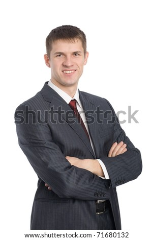 Portrait of handsome smiling young businessman. Isolated on white.