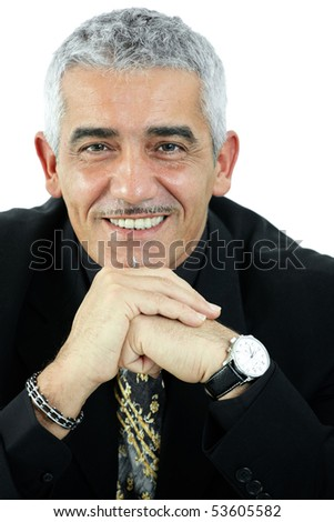 Portrait of happy grey haired man thinking, smiling. Isolated on white background.