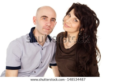 Portrait of happy husband and wife isolated