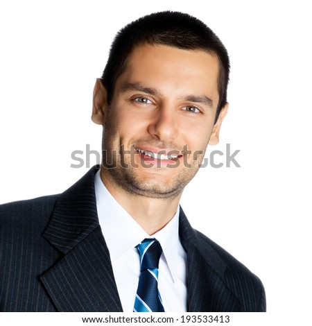 Portrait of happy smiling businessman, isolated on white background