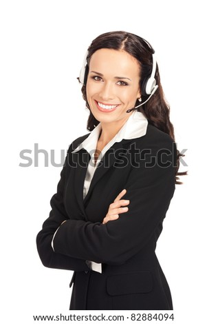 Portrait of happy smiling cheerful customer support phone operator in headset, isolated on white background