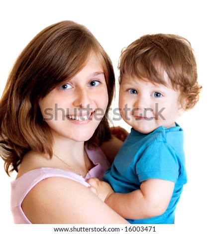 portrait of happy smiling mother with son
