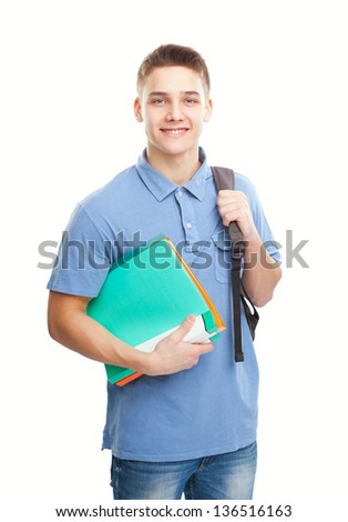 Portrait of happy smiling student with his notebook and backpack isolated on white background