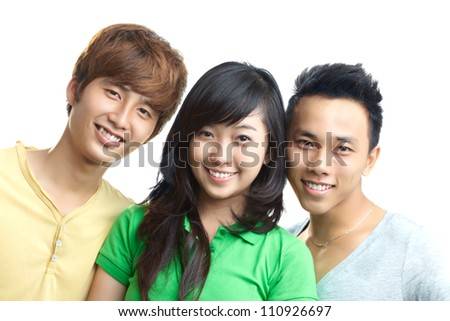 Portrait of happy students isolated on white background