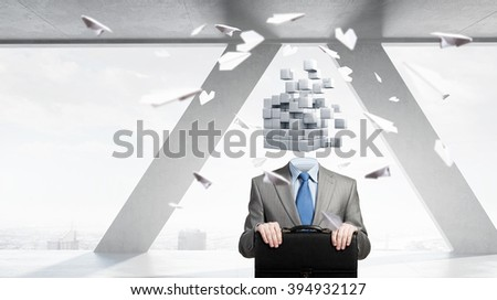 Portrait of headless businessman
