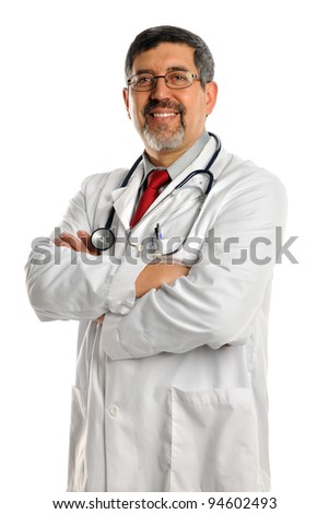 Portrait of Hispanic doctor smiling isolated over white background