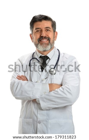 Portrait of Hispanic senior doctor with arms crossed isolated over white background