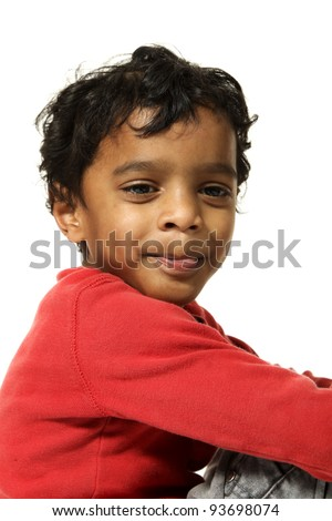 portrait of  Indian boy on a white background