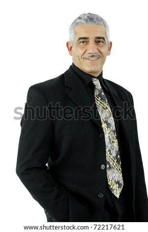 Portrait of mature businessman standing with hands in pocket. Isolated on white.?