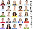 Portrait of Multiethnic Colorful Diverse People - stock photo