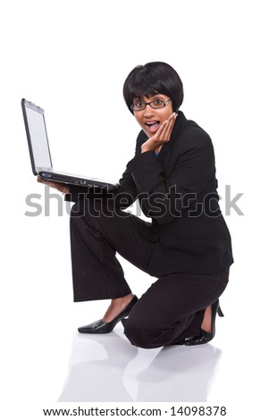 Portrait of multiracial businessperson with laptop, isolated on white