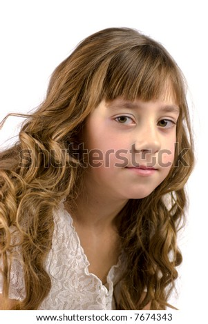 Portrait of nine years old girl with curly hair isolated on white ...
