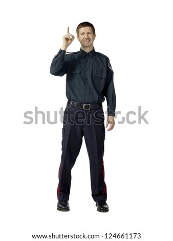 Portrait of policeman having an idea against white background