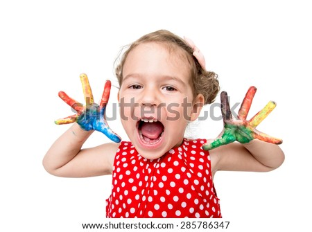 Portrait of positive little girl with colorful hands,isolated on white background