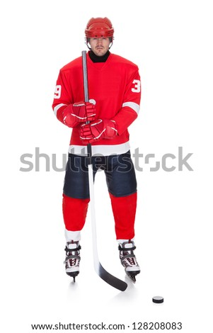 Of professional hockey player isolated on white stock photo